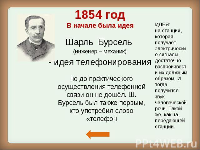 1854 год В начале была идея Шарль Бурсель (инженер – механик) - идея телефонирования ,