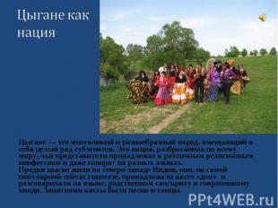 Цыгане — это многоликий и разнообразный народ, вмещающий в себя целый ряд субэтн