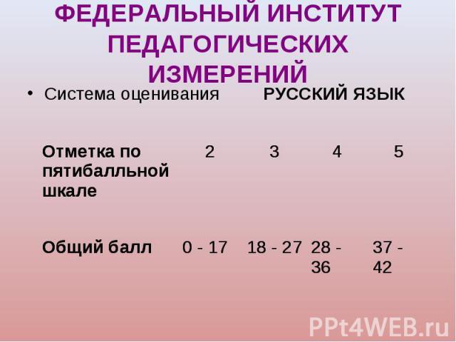 Система оценивания РУССКИЙ ЯЗЫК Система оценивания РУССКИЙ ЯЗЫК