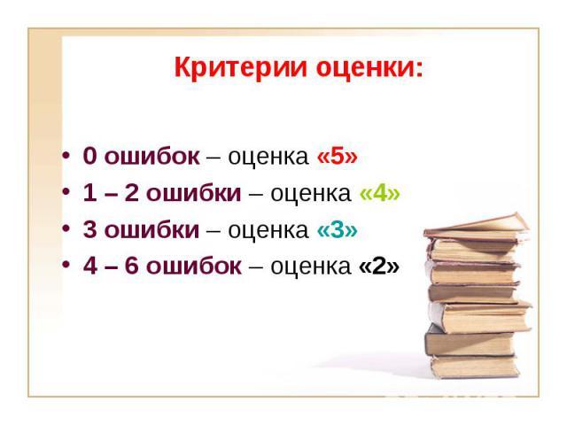 0 ошибок – оценка «5» 0 ошибок – оценка «5» 1 – 2 ошибки – оценка «4» 3 ошибки – оценка «3» 4 – 6 ошибок – оценка «2»