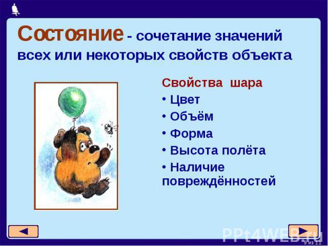 Состояние - сочетание значений всех или некоторых свойств объекта Свойства шара Цвет Объём Форма Высота полёта Наличие повреждённостей