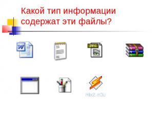 Какой тип информации содержат эти файлы?