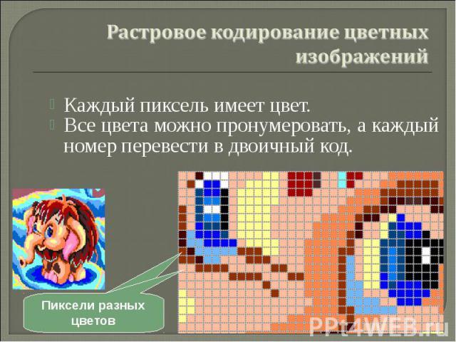 Каждый пиксель имеет цвет. Каждый пиксель имеет цвет. Все цвета можно пронумеровать, а каждый номер перевести в двоичный код.