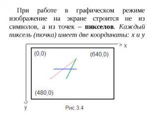 При работе в графическом режиме изображение на экране строится не из символов, а