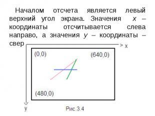 Началом отсчета является левый верхний угол экрана. Значения х – координаты отсч