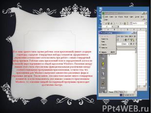 Все окна одного типа (кроме рабочих окон приложений) имеют сходную структуру, со