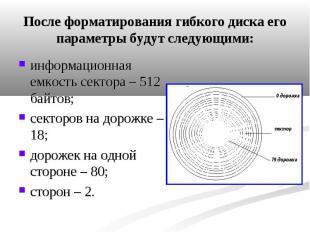 После форматирования гибкого диска его параметры будут следующими: информационна