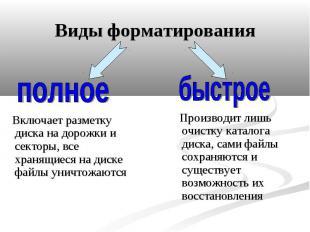 Виды форматирования Включает разметку диска на дорожки и секторы, все хранящиеся