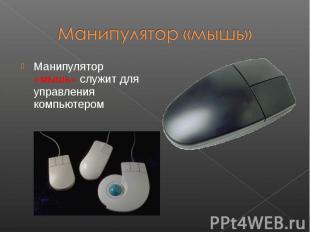 Манипулятор «мышь» служит для управления компьютером Манипулятор «мышь» служит д