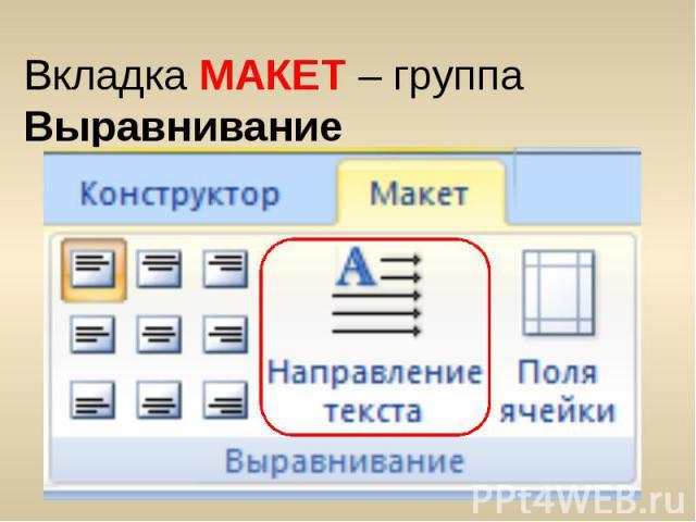 Вкладка МАКЕТ – группа Выравнивание Вкладка МАКЕТ – группа Выравнивание