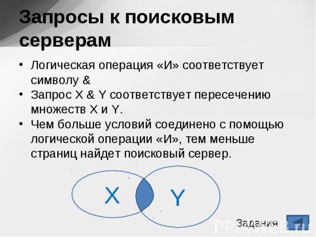 Логическая операция «И» соответствует символу & Логическая операция «И» соответствует символу & Запрос X & Y соответствует пересечению множеств X и Y. Чем больше условий соединено с помощью логической операции «И», тем меньше страниц най…