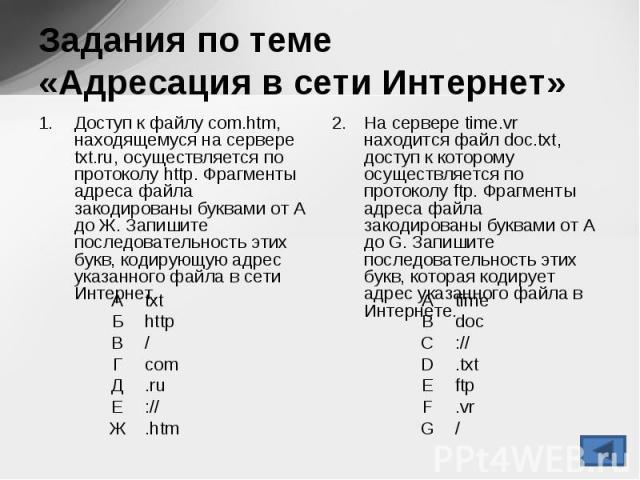 Доступ к файлу com.htm, находящемуся на сервере txt.ru, осуществляется по протоколу http. Фрагменты адреса файла закодированы буквами от А до Ж. Запишите последовательность этих букв, кодирующую адрес указанного файла в сети Интернет. Доступ к файлу…