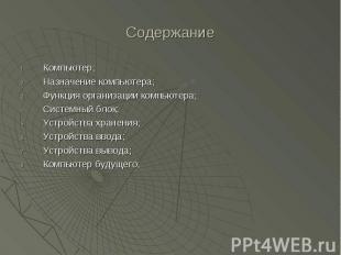 Содержание Компьютер; Назначение компьютера; Функция организации компьютера; Сис