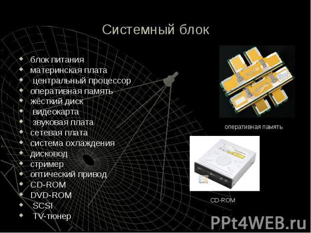 Системный блок блок питания материнская плата центральный процессор оперативная память жёсткий диск видеокарта звуковая плата сетевая плата система охлаждения дисковод стример оптический привод CD-ROM DVD-ROM SCSI TV-тюнер