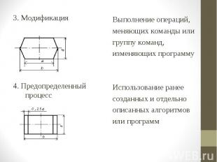 3. Модификация 3. Модификация 4. Предопределенный процесс