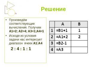 Произведём соответствующие вычисления. Получим А1=2; А2=4; А3=1;А4=1 Произведём