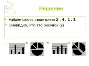 Найдём соответствие долям 2 : 4 : 1 : 1 Найдём соответствие долям 2 : 4 : 1 : 1