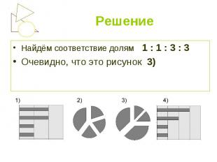 Найдём соответствие долям 1 : 1 : 3 : 3 Найдём соответствие долям 1 : 1 : 3 : 3