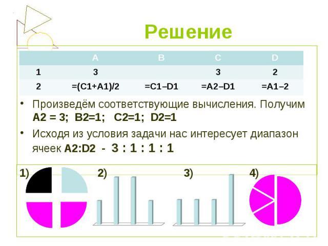 Произведём соответствующие вычисления. Получим А2 = 3; В2=1; С2=1; D2=1 Исходя из условия задачи нас интересует диапазон ячеек А2:D2 - 3 : 1 : 1 : 1