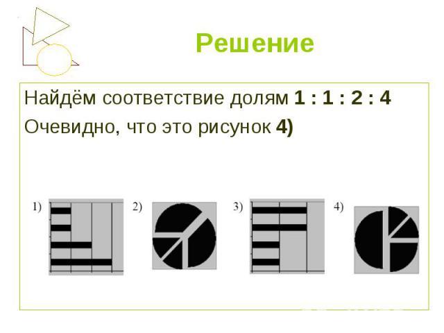 Найдём соответствие долям 1 : 1 : 2 : 4 Найдём соответствие долям 1 : 1 : 2 : 4 Очевидно, что это рисунок 4)