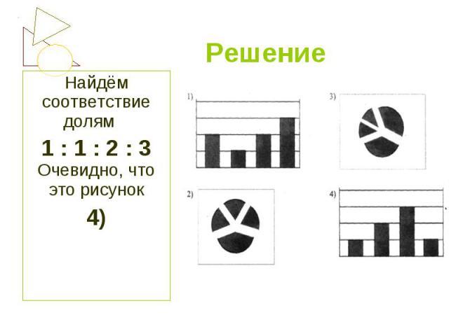 Найдём соответствие долям Найдём соответствие долям 1 : 1 : 2 : 3 Очевидно, что это рисунок 4)