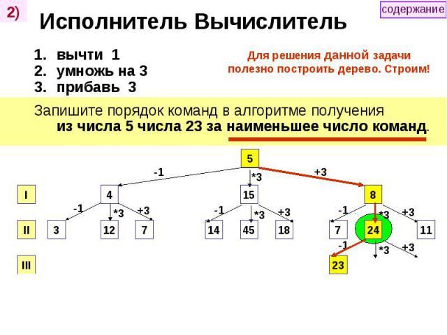 Исполнитель Вычислитель вычти 1 умножь на 3 прибавь 3 Запишите порядок команд в алгоритме получения из числа 5 числа 23 за наименьшее число команд.