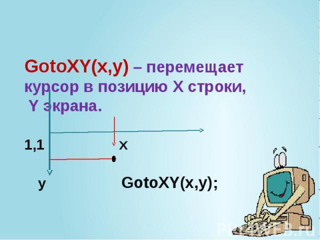 GotoXY(x,y) – перемещает курсор в позицию Х строки, Y экрана. 1,1 X y GotoXY(x,y);
