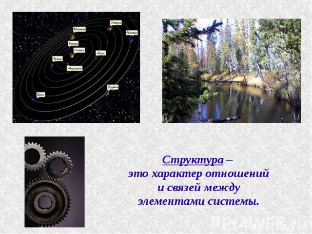 Структура – это характер отношений и связей между элементами системы.