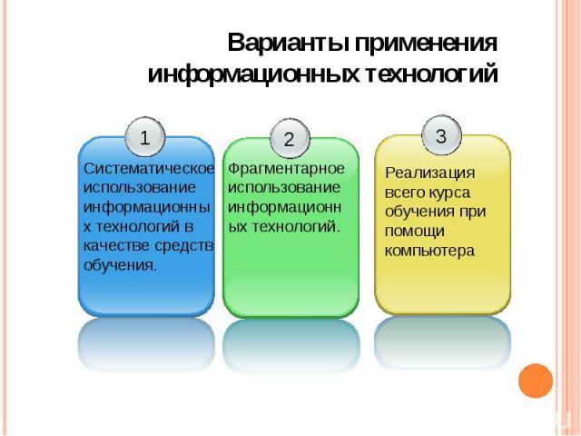 Варианты применения информационных технологий
