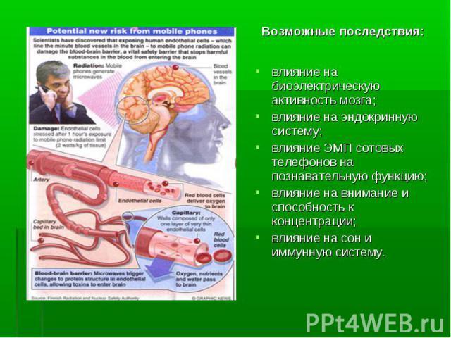 влияние на биоэлектрическую активность мозга; влияние на биоэлектрическую активность мозга; влияние на эндокринную систему; влияние ЭМП сотовых телефонов на познавательную функцию; влияние на внимание и способность к концентрации; влияние на сон и и…