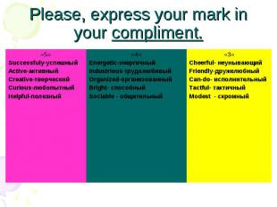 Please, express your mark in your compliment.