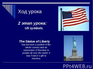 Ход урока 2 этап урока: US symbols. The Statue of Liberty has become a symbol of