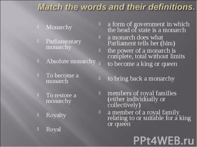 Monarchy Monarchy Parliamentary monarchy Absolute monarchy To become a monarch To restore a monarchy Royalty Royal