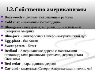 1.2.Собственно американизмы Backwoods - лесные, пограничные районы Cold snap - в