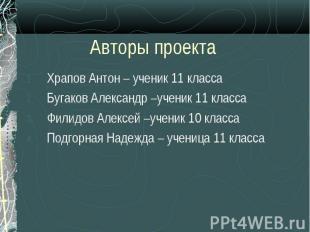 Храпов Антон – ученик 11 класса Храпов Антон – ученик 11 класса Бугаков Александ
