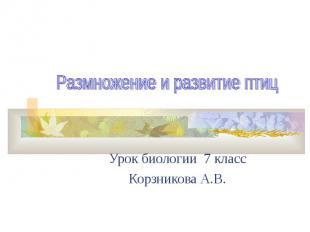 Урок биологии 7 класс Корзникова А.В.