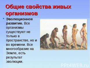 Общие свойства живых организмов Эволюционное развитие. Все организмы существуют