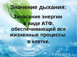Значение дыхания: Запасание энергии в виде АТФ, обеспечивающей все жизненные про