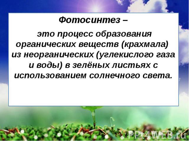 Фотосинтез – Фотосинтез – это процесс образования органических веществ (крахмала) из неорганических (углекислого газа и воды) в зелёных листьях с использованием солнечного света.