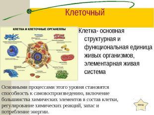 Клетка- основная структурная и функциональная единица живых организмов, элемента