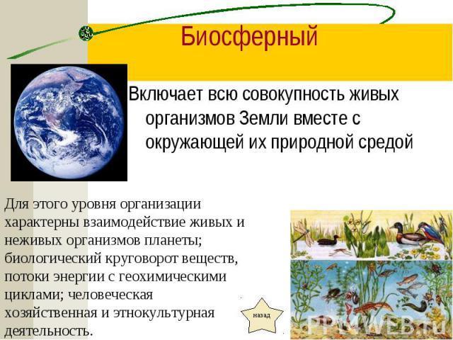 Включает всю совокупность живых организмов Земли вместе с окружающей их природной средой Включает всю совокупность живых организмов Земли вместе с окружающей их природной средой