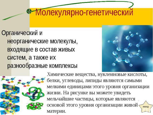 Органический и неорганические молекулы, входящие в состав живых систем, а также их разнообразные комплексы Органический и неорганические молекулы, входящие в состав живых систем, а также их разнообразные комплексы