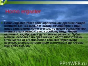 Homo ergaster Homo ergaster Ранее этих африканских древних людей (живших 1.9 - 1