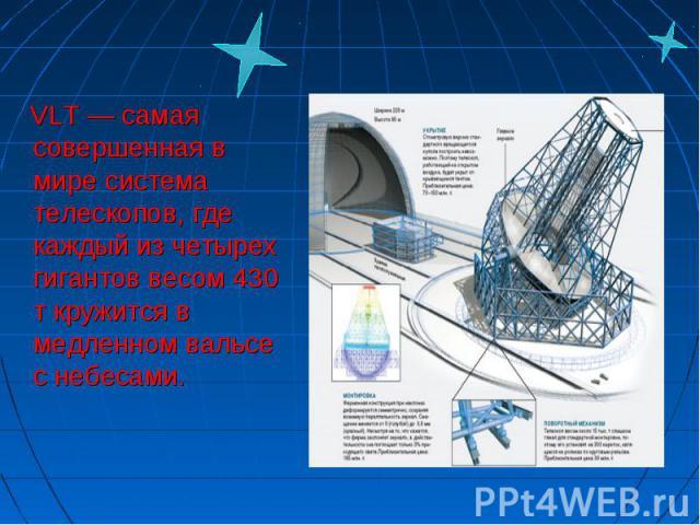 VLT — самая совершенная в мире система телескопов, где каждый из четырех гигантов весом 430 т кружится в медленном вальсе с небесами. VLT — самая совершенная в мире система телескопов, где каждый из четырех гигантов весом 430 т кружится в медленном …