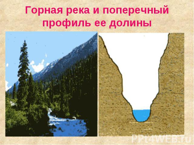 Горная река и поперечный профиль ее долины
