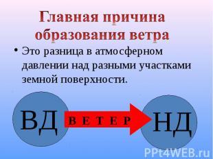 Это разница в атмосферном давлении над разными участками земной поверхности. Это