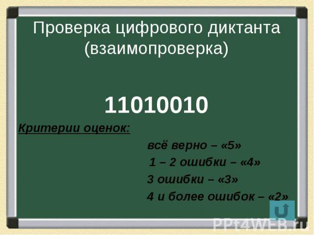 Проверка цифрового диктанта (взаимопроверка) 11010010 Критерии оценок: всё верно – «5» 1 – 2 ошибки – «4» 3 ошибки – «3» 4 и более ошибок – «2»