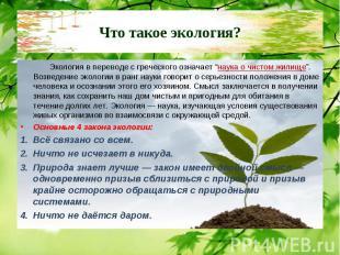 """Экология в переводе с греческого означает """"наука о чистом жилище"""". Возведение эк"""