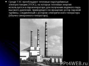 Среди ТЭС преобладают тепловые паротурбинные электростанции (ТПЭС), на которых т