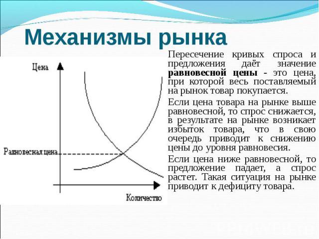 Пересечение кривых спроса и предложения даёт значение равновесной цены - это цена, при которой весь поставляемый на рынок товар покупается. Пересечение кривых спроса и предложения даёт значение равновесной цены - это цена, при которой весь поставляе…
